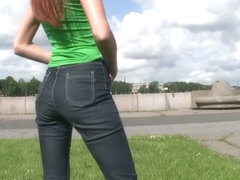 Street candid is filmed by a pervert on public