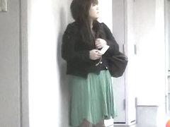 Whimsical little bimbo flashes her beaver when someone lifts her green skirt