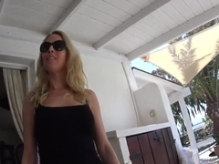 hot german blonde fucked on terrace creampie
