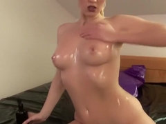 Busty Blonde Babe Oils herself up and plays with her Toy!