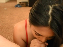 Young asian teen sucks daddy's dick and gets covered in cum :)