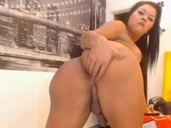 Shemale masturbation clip with a big-titted tranny