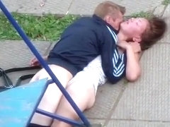 Drunk couple fuck on the playground