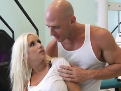 Sammie Spades peels and lets Johnny Sins do tits