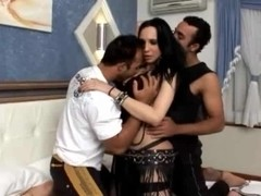 Threesome with two chaps and seductive t-girl rimming & cum on f