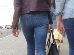 Sweet blonde's ass in jeans