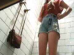 Cute teenage girl heard the voyeur