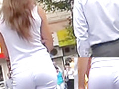 Taut white panties on sexy wazoo chick