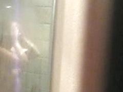 Gitte voyeurered in shower