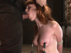 Sexy Irish Girl Is Severely Bound, Made To Suck Cock And Cumher Puffy Nipples Clamped And Abused -.