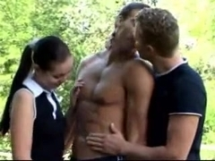 another outdoor bisexual threesome