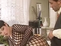 Bodystocking, anal in kitchen