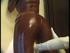 Latex loving lesbians video with sexy pony girl fetish