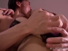Hitomi naughty Japanese milf with huge boobs tit fucks guy