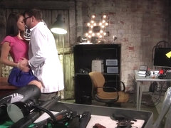 Hugetitted slut pussy pounded on her desk