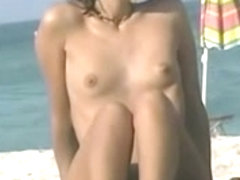 Cute Mother I'd Like To Fuck with Hat on Bare Beach BVR