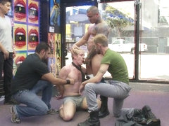 Bound in Public. Two thugs drag a businessman into a porn shop and strip him of his manhood