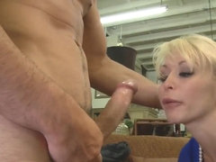 Naughty blonde slut Monique Alexande deep throats a huge cock before a fuck