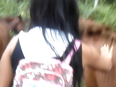 Heather Deep 4 wheeling on scary fast quad and ###ing next to horses in the jungle