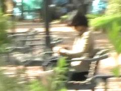 Wild skirt sharking video in a public park in Japan