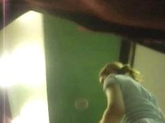 Blondie's sensational ass caught by an up skirt cam