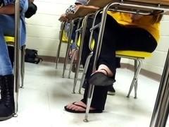 Brunette dangling flip flops 3