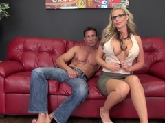 Curvaceous blonde cougar Phoenix fucks a hard pole in every position