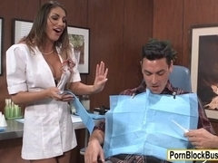 Busty dentist August Ames hard pounded by her patient