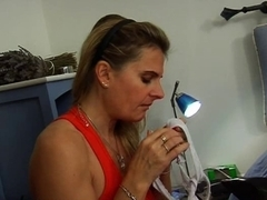 Horny French mom fucks with a young man
