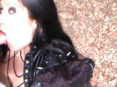 Gothic Latex Fantasy - Dirty Outdoor Blowjob Handjob with Latex Gloves - Cum on my Tits