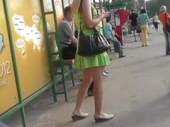 Blonde teen in short green dress upskirt