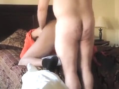 Old man fucks and cums inside ebony