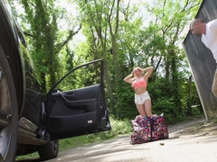 Big tits blonde Alessandra Jane fucked outdoor for a ride