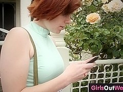 Lesbian redheads lick and finger hairy pussies