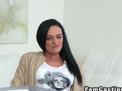 Big fake tits lesbo licks female agent
