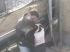 Voyeur fucking on the roof
