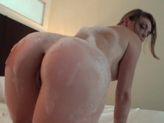 Staci gets all wet, then sucks cock in POV