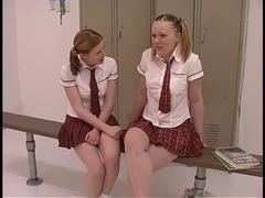 2 legal age teenager tarts in schoolgirl uniforms receive their freak on in the locker room