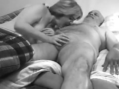 Vintage Wife Sucks a Cock and Swallows Cum (B&W)