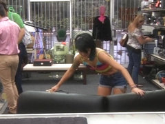 Asian pawned her massage table and fucked at the pawnshop