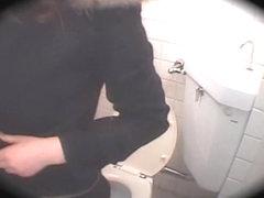 Long vagina fucked hard by japanese dick in public toilet