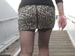 Fishnet stockings upskirt