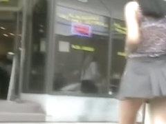 My amateur upskirt clip with a brunette teen