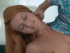 Tasty ginger beauty fingers her delicious pussy all alone
