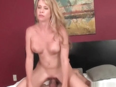 Curvy milf riding stepsons cock in bedroom