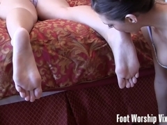 Sneaky foot worship act