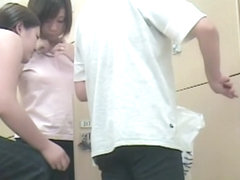Asian beauty in changing room gets hairy pussy shot