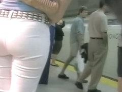 Perky asses of girls in white jeans candid camera clip