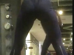 Gym Girl in Black Tight Spandex-3