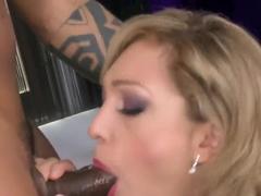 Slutty pale blonde Lily LaBeau sucks a black cannon
